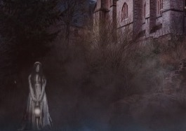 excerpt from the cover of The Passages of Melton Hall and other stories. A small part of the old, spooky house is visible in the background but the main focus is on the lone girl in a Victorian style plae dress holding a lantern in front of her with both